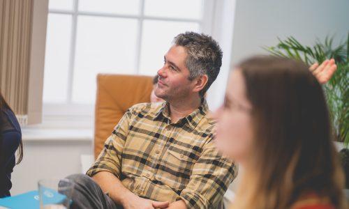 Mark at team meeting